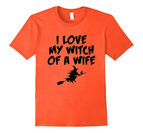 Mens I Love My Witch Of A Wife Funny Halloween T-shirt Medium (Mens Broom Costume)