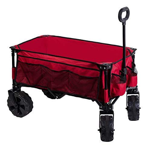 Timber Ridge Folding Camping Collapsible Sturdy Steel Frame Garden/Beach Wagon/Cart Heavy Duty, Red-Side Bag