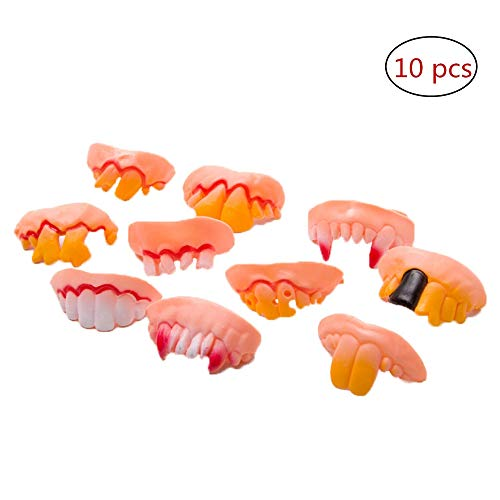 FABSELLER 10pcs/Set Funny Rubber Fake Teeth Vampire Denture Ugly Gag False Teeth Buck Tooth Prank Trick Props Jokes Toy for Halloween Costume Party Easter Masquerade (10 Different Shapes) ()