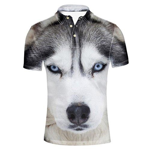 HUGS IDEA Animal 3D Print Mens Fashion Polos Shirt Short Sleeve