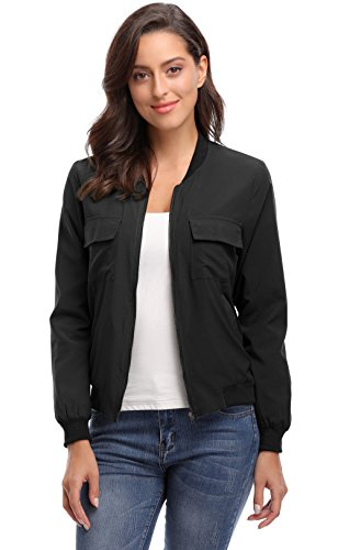 Bomber Parka - MISS MOLY Women's with Lining Zip up Lightweight Coat Rib Collar Multi-Pockets Bomber Jacket