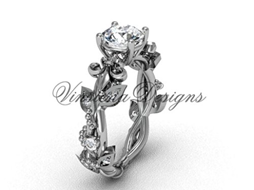 14k white gold diamond leaf and vine, Fleur de Lis engagement ring VD20859