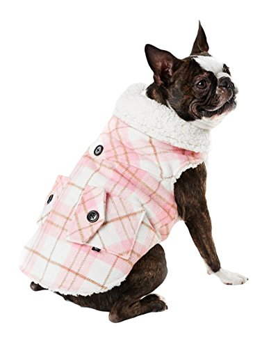 Hotel Doggy Sweet Pink Plaid Melton Sherpa Coat, - Melton Cloth