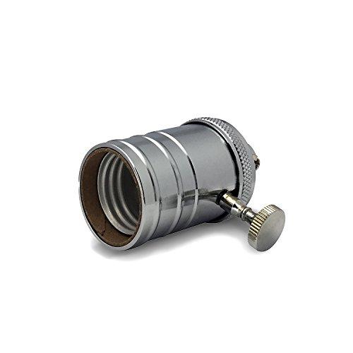 (emark Vintage Light Socket - E26/E27 Solid Brass Industrial Light Socket - Edison Pendant Lamp in Chrome with On/Off Knob (1 pack))
