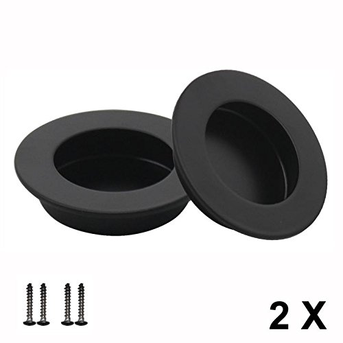 2 X Probrico 65mm Stainless Steel Sliding Door Handle Cabinet Drawer Knob Circular Recessed Flush Finger Pull Black