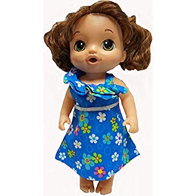 Doll Clothes Superstore Blue Flower Ruffle Neckline Dress Fits Baby Alive Go Go and Sweet Tears: Toys & Games