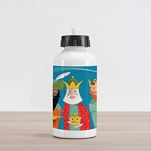 Ambesonne Religious Aluminum Water Bottle, Three Wise Men in Traditional Costumes Vintage Christmas Holiday Illustration, Aluminum Insulated Spill-Proof Travel Sports Water Bottle, Multicolor