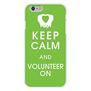 Apple iPhone 6 Custom Case White Plastic Snap On - Keep Calm and Volunteer On w/Hands & Heart