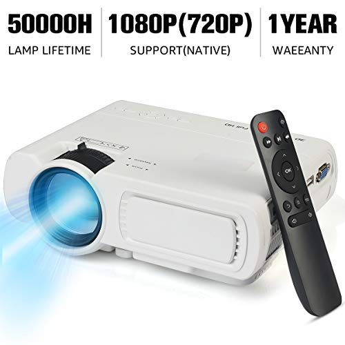 "SeeYing Mini Movie Projector, Home Theater Video Projector Supporting 1080P & 100"" Display, 3600L Brightness with 50,000 Hours LED Lamp Life, Compatible with TV Stick,HDMI,VGA,USB,TV,Laptop,DVD"