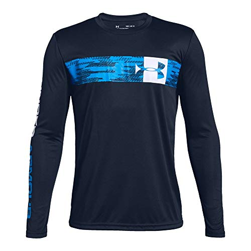 Under Armour Boys Pixel Crossbar Long sleeve Tee, Academy (408)/White, Youth Large