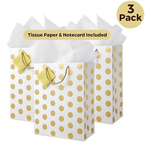 Deluxe Large Gold Gift Bags (Set of 3) Includes Tissue Paper, Braided Handles, Hang Tag, Cute Present Bag for Shower Gift, Welcome Favor Bag, Wedding Bridal Party, Bridesmaid