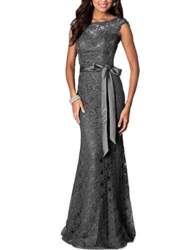 Women's Floral Lace Vintage Cap Sleeve Wedding Maxi Fromal Long Dress (Dark Gray,4)