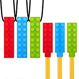 Sensory Chew Necklace + Chewy Pencil Toppers Combo (6-Pack) for Boys & Girls - Durable Kids Chewing Sensory Chewelry for Autism ADHD Chewing Biting Teething - Solace Chew Brick Chewable Chewlery