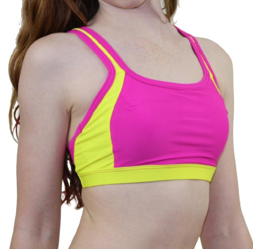 Cheval Rouge V-Back Bra Top XS Hot Pink/Neon Yellow Top Cheval