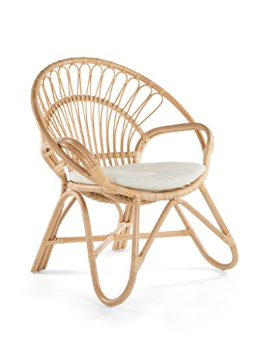 Kouboo 1110016 Armchair Round Rattan Loop Armhair with Seat Cushion, Natural Color, Large, (Contract Furniture Manufacturers Outdoor)