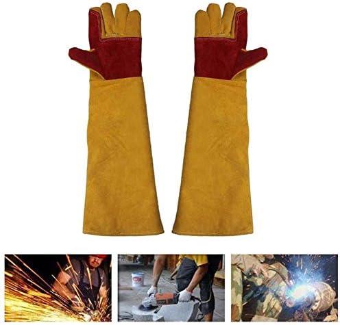 """AMAZACER 23.6"""" インチロングスリーブ溶接安全手袋、綿が並んでケブラーステッチ溶接機、耐熱ストーブ火災やバーベキューグローブ"""