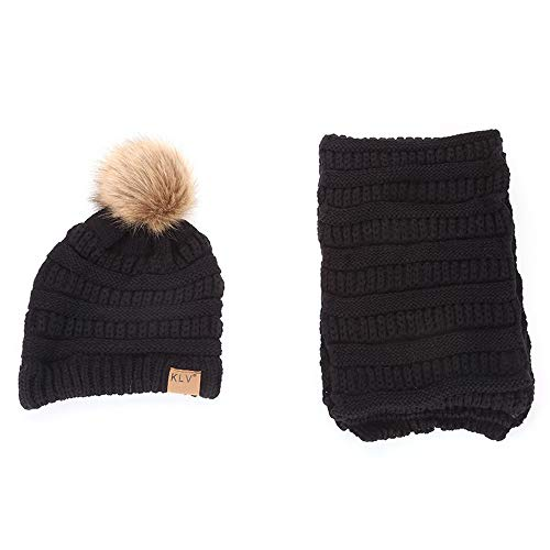 remium Soft Stretch Imitation Braid Hair Ball Wool Knitted Hat Scarf Kit(Black) ()