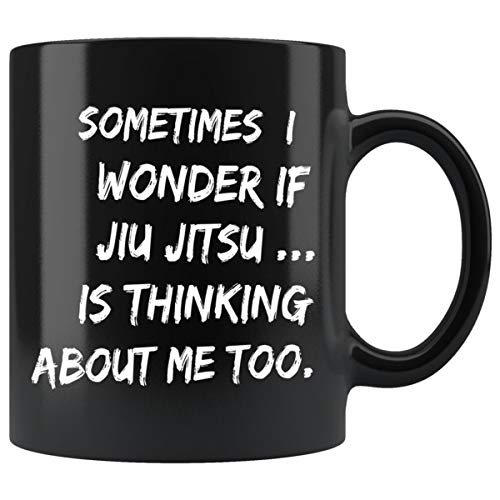 ArtsyMod I WONDER IF JIU JITSU Premium Coffee Mug, Perfect Fun Gift For The Brazilian JiuJitsu Lover, BJJ Students, Men and Women! Durable Black Ceramic Mug, 11oz. (White Print)