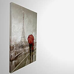 masterpieces Premium Embellished Canvas Oil Painting Wall Art Modern Couple in Paris, 36\