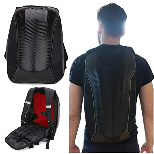 Motorcycle Backpack Waterproof Hard Shell Backpack - Carbon Fiber Motorbike Helmet Backpack Waterproof 30L Large Capacity - Riding Laptop Bag For Travelling Camping Cycling Storage Bag