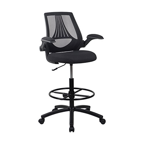 LCH Ergonomic Drafting Stool Chair/Tall Mesh Office Chair Adjustable Height with Arms,Tall Office Chair for Adjustable Standing Desks (Stool Drafting Mesh)