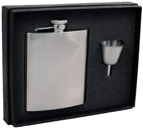 Visol Duo Two-Tone Stainless Steel 8oz Hip Flask Gift Set