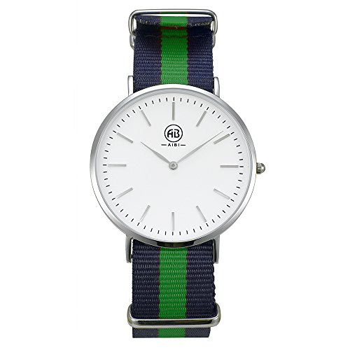 AIBI Men's Stainless Steel Classic Quartz Analog Business Wrist Watch with White Dial, Replaceable Green/Blue Striped Nylon Band (White Polished Dial)