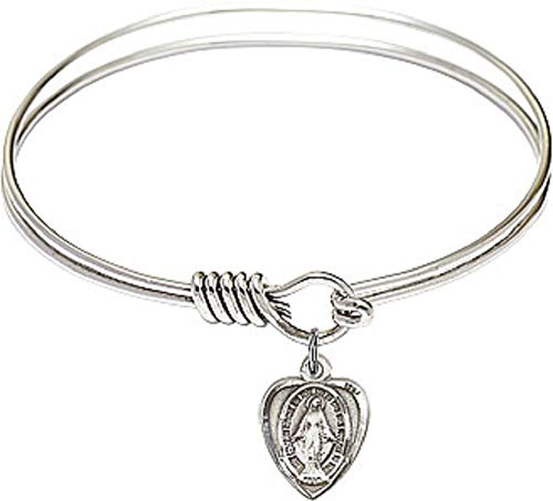 (Small First Communion 6 1/4 inch Round Eye Hook Rhodium Bangle Bracelet with a Pewter St. Mary Miraculous Medal charm.)