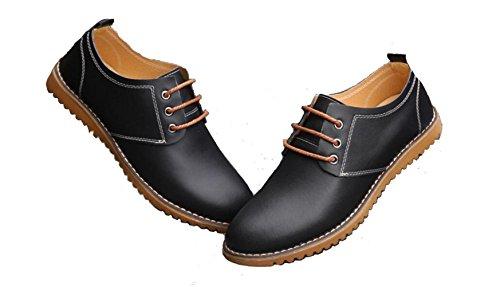 DADAWEN Herren Oxfords Schnürhalbschuhe Business Stil Leder Schuhe Schwarz