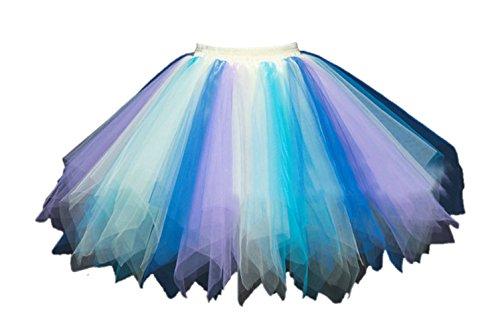Honeystore Women's Short Vintage Ballet Bubble Puffy Tutu Petticoat Skirt Blue Yellow -