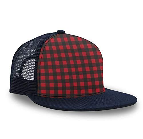 (Trucker Hat Snapback Hat Mesh Baseball Hats, Novelty Summer Cap Sun Hats for Boys Girls -Red Black Buffalo Plaid)