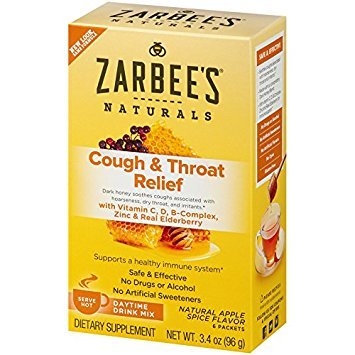 Zarbee's All-Natural Cough & Throat Relief Daytime Drink Packets Extra Strength Apple Spice 6 EA - Buy Packs and SAVE (Pack of 2)