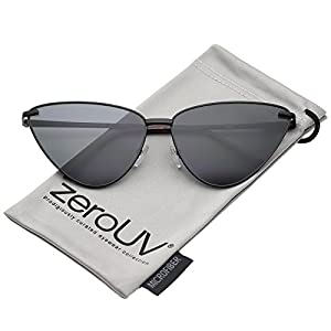 zeroUV - Oversize Ultra Thin Metal Frame Flat Lens Cat Eye Sunglasses 65mm (Black/Smoke)