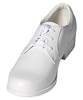 Boys White Lace Up Round Toe Dress Shoes