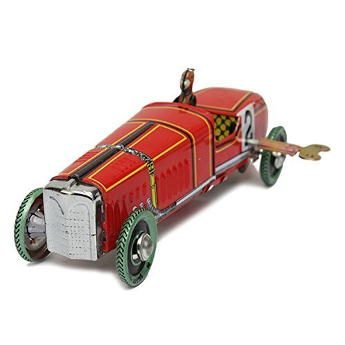 (New Vintage Wind Up Racing Car Model Clockwork Tin Toy Collectible Gift)