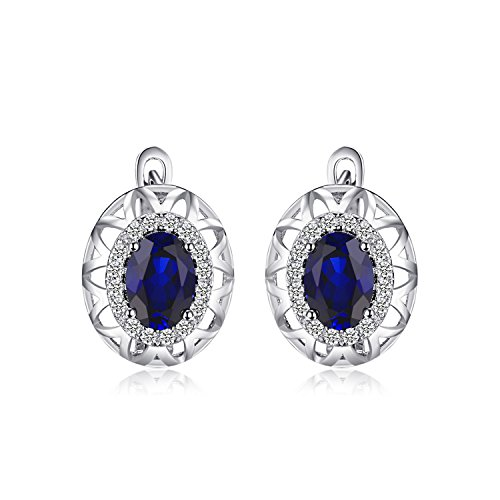 JewelryPalace Unique Design 2.4ct Created Blue Sapphire Hoop Earrings 925 Sterling Silver