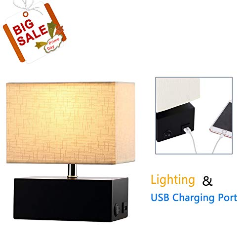 Wooden Table Lamp, 5V/2A USB Charging Port, On-Off Rocker Switch, Black Rectangle Wooden Base, Cream Fabric Shade (Wooden Tall Table Lamps)