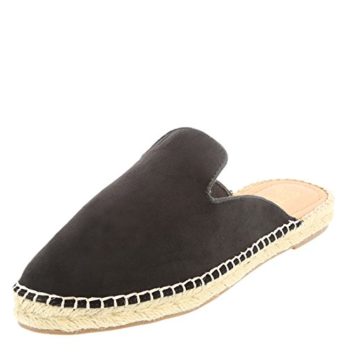 Brash Black Fabric Women's Beth Espadrille Mule 7 Regular (Womens Canvas Espadrilles)