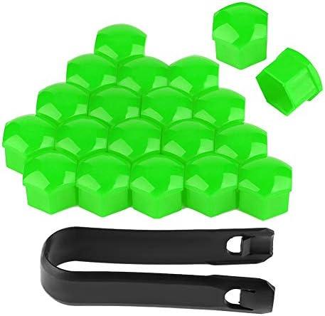 Cuque ホイールボルト ラグナットカバーキャップ 取り外しツール付き 17mmラグナット用 20個 default グリーン Cuqueor83naizgx-06