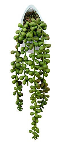 White Plant Hanger with Faux String of Pearls - 3 x 10.25 Inches - Marmeda Decor Ceramic Hanging Pot with Artificial Vine for Home or Office - Floating Vines