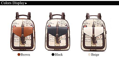 Minetom Pu Cuero Backpack Mochilas Escolares Mochila Escolar Casual Bolsa Viaje Moda Colegio Estilo Clamshell Mujer Negro