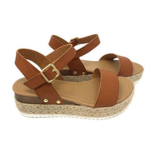 SODA Womens Casual Clip Espadrilles Trim Flatform Studded Wedge Buckle Ankle Strap Sandals,Clip-Tan,6.5