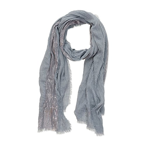 Tickled Pink Women's Classic Vintage Casual Feather Fringe with Sparkle Lurex Stripe Lightweight Long Scarf Shawl, 40 x 70