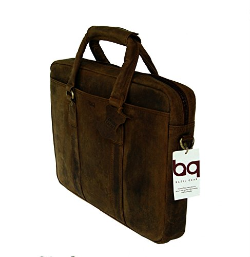 BASIC GEAR Full Grain Leather Messenger Bag Laptop Briefcase in Vintage Rustic look by Basic Gear (Image #1)