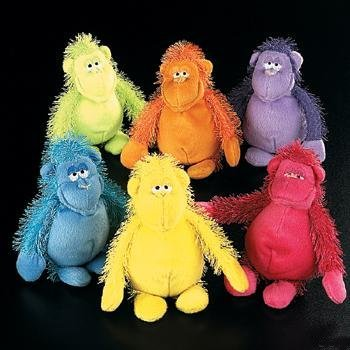 Oriental Trading Company 12 Count Plush Neon Bright Monkeys Assorted 6 Inch Approx.