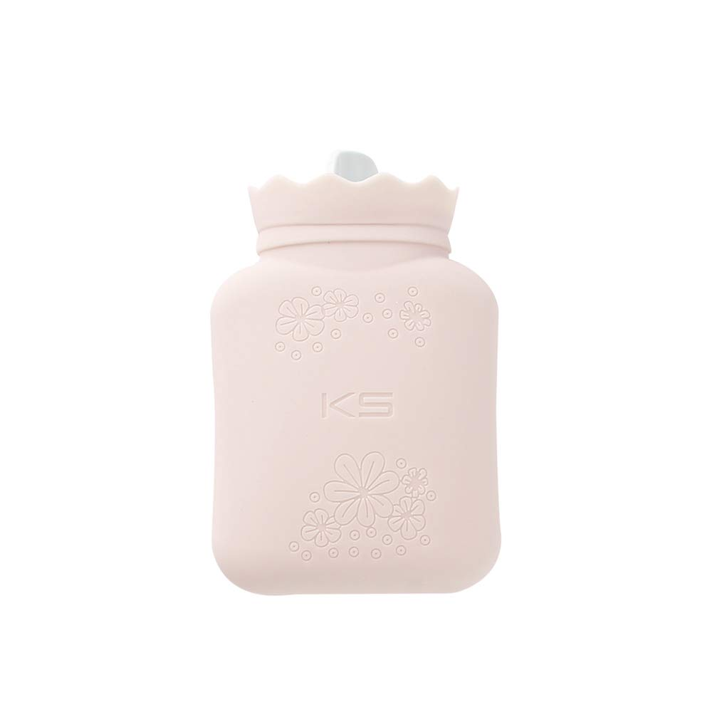 RUKAZA Heating Bottle Environmental Silicone Hot Water Bag with Knit Cover-Great for Pain Relief, Hot & Cold Therapy-Gift for Girls Babys, Christmas, Gift Exchange Pary (Pink, Short)