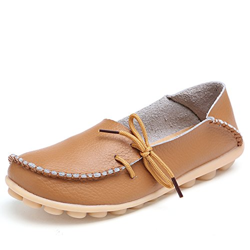 Lucksender Womens Cowhide Leather Lace-Up Driving Shoes Loafers Boat Shoes Light Brown
