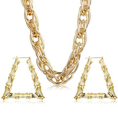 Hanpabum Gold Plated Chunky Rope Chain Necklace and Large Hollow Casting Triangle Bamboo Hoop Earrings Set for Men Women Costume Jewelry Punk Hip Hop Rapper Style  -