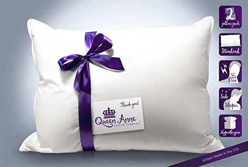 2 Pack Pillows -Two of our Best Selling Luxury Synthetic Down Hypoallergenic Pillow By Queen Anne Co. - Our Exclusive Luxury Hotel Heavenly Down Pillows (2 Standard Medium (Best Selling)