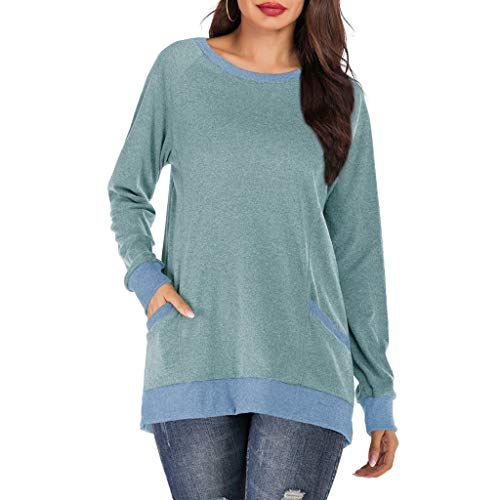 Long Sleeve Shirts for Women,LuluZanm Sales! Ladies Solid Color Pocket Tops Vintage Round Neck Pullover Blouse Green (Sunglasses Should I Wear What)